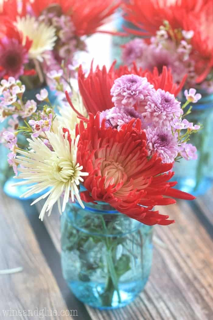 Make Five Flower Arrangements for Less than Twenty Dollars! Use them as centerpieces for a party, decorate your home, or keep one and give the rest away!