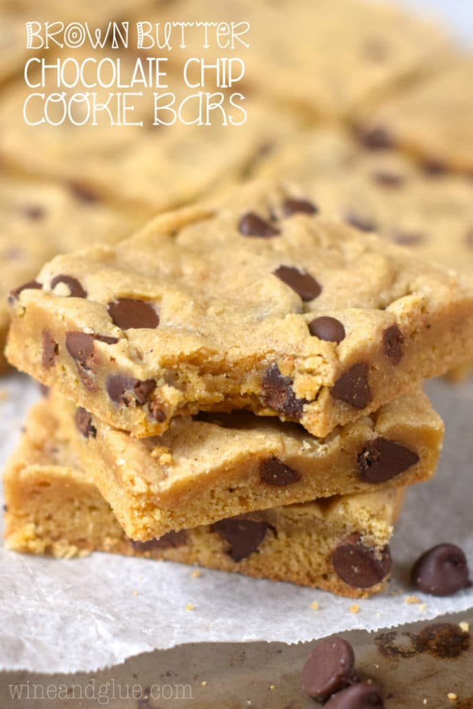 This brown butter chocolate chip cookie bar recipe is insanely good. If you've never made brown butter before, watch the video in this post to see how!