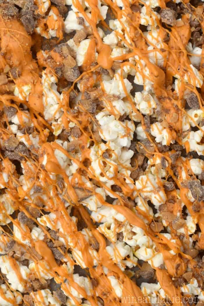 This Butterscotch Toffee Popcorn is THREE ingredients and only takes about five minutes to make!