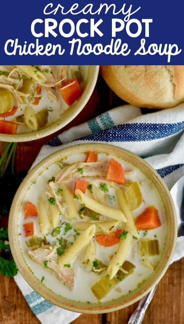 If you are looking for a homemade creamy chicken noodle soup, make this for dinner tonight!