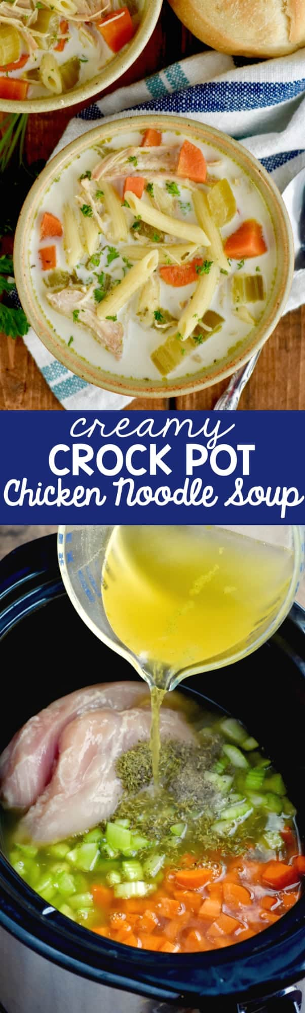This  Creamy Crock Pot Creamy Chicken Noodle Soup recipe is an easy chicken soup that whips up fast but is full of amazing flavor!
