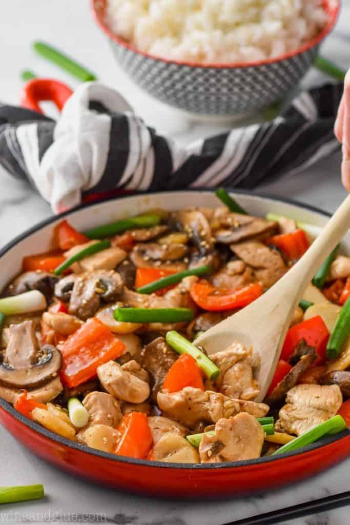 Szechuan chicken dinner recipe in a red skillet