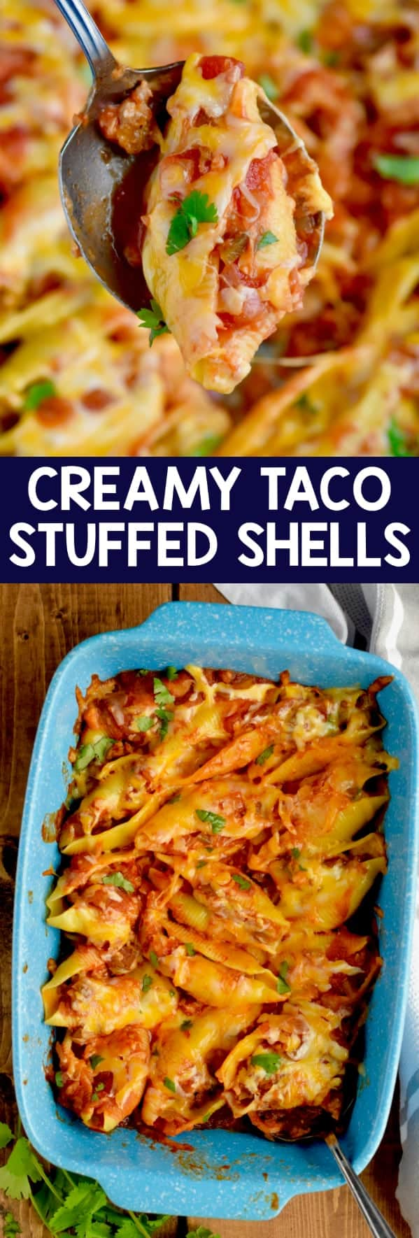These Creamy Taco Stuffed Shells make for an easy but absolutely delicious dinner!  This is a taco twist on your favorite stuffed shells recipe!  It is a great weeknight dinner.