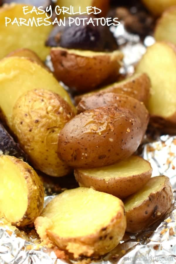 These Easy Grilled Parmesan Potatoes are so fast and the perfect side for a family BBQ!