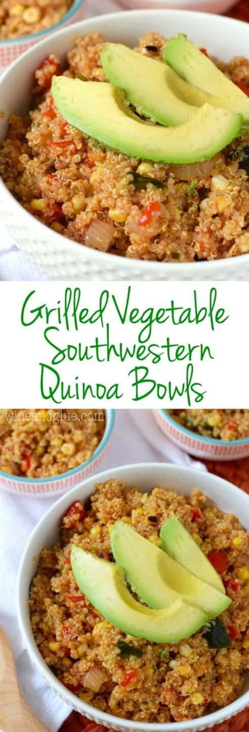 These Grilled Vegetable Southwestern Quinoa Bowls are so jam packed with flavor! This is going to be your new favorite salad!