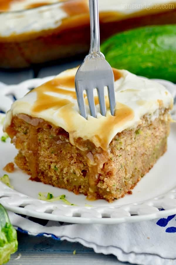 This Caramel Zucchini Poke Cake is completely from scratch and insanely good! You HAVE to make this!