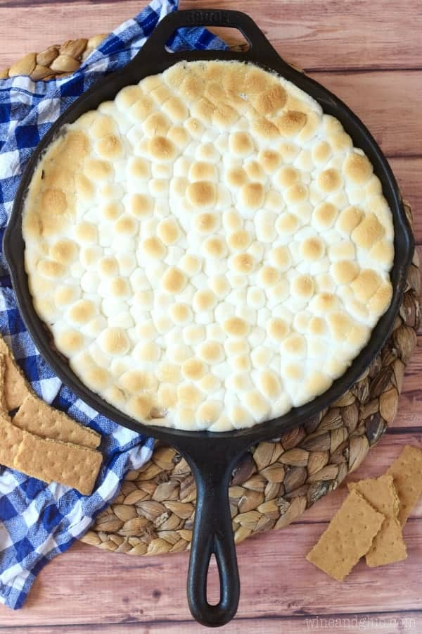 This Chocolate Covered Cherry S'mores Dip is incredibly easy to throw together, but is knock your socks off delicious!