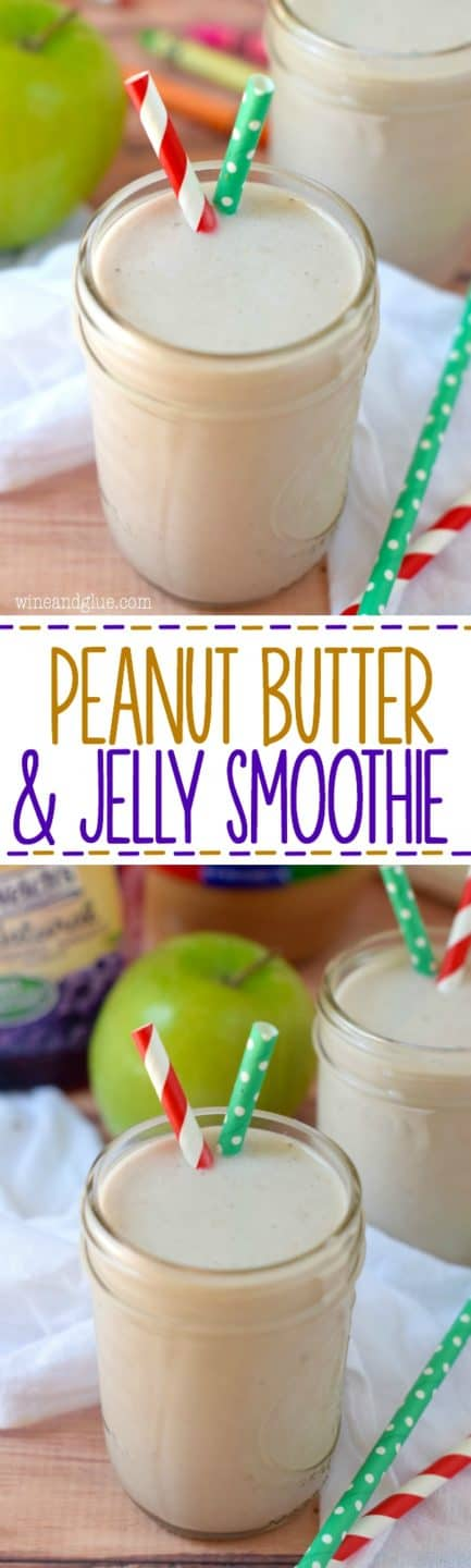 This Peanut Butter and Jelly Smoothie is such a perfect after school snack! Fills the kiddos up without being packed with sugar!