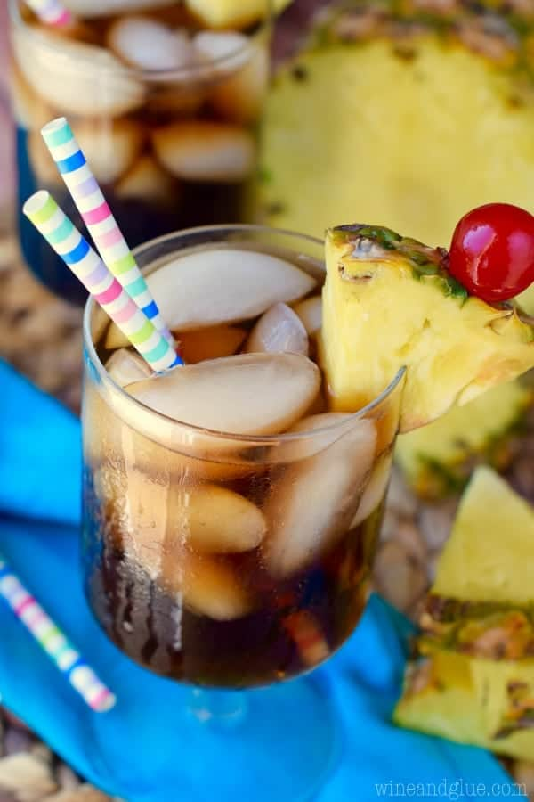 This Dirty Pina Colada Coke is going to be your new favorite skinny indulgence!  Make it as an afternoon treat or make it as an easy and delicious cocktail!