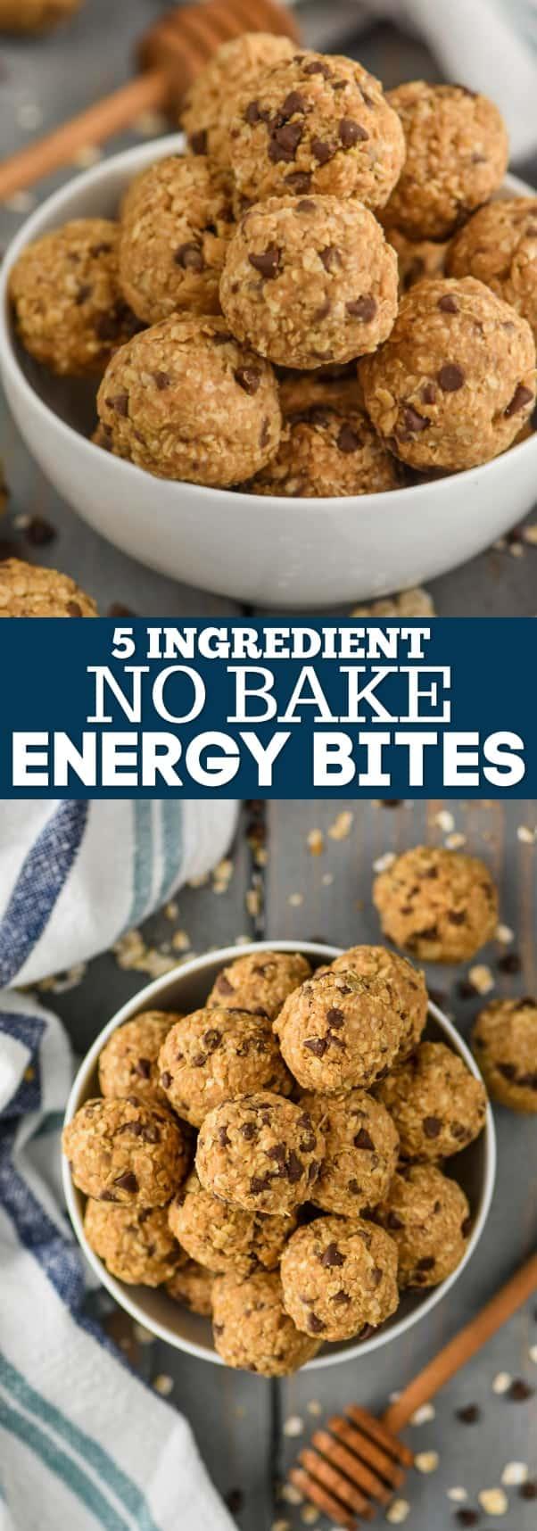collage of no bake energy bites