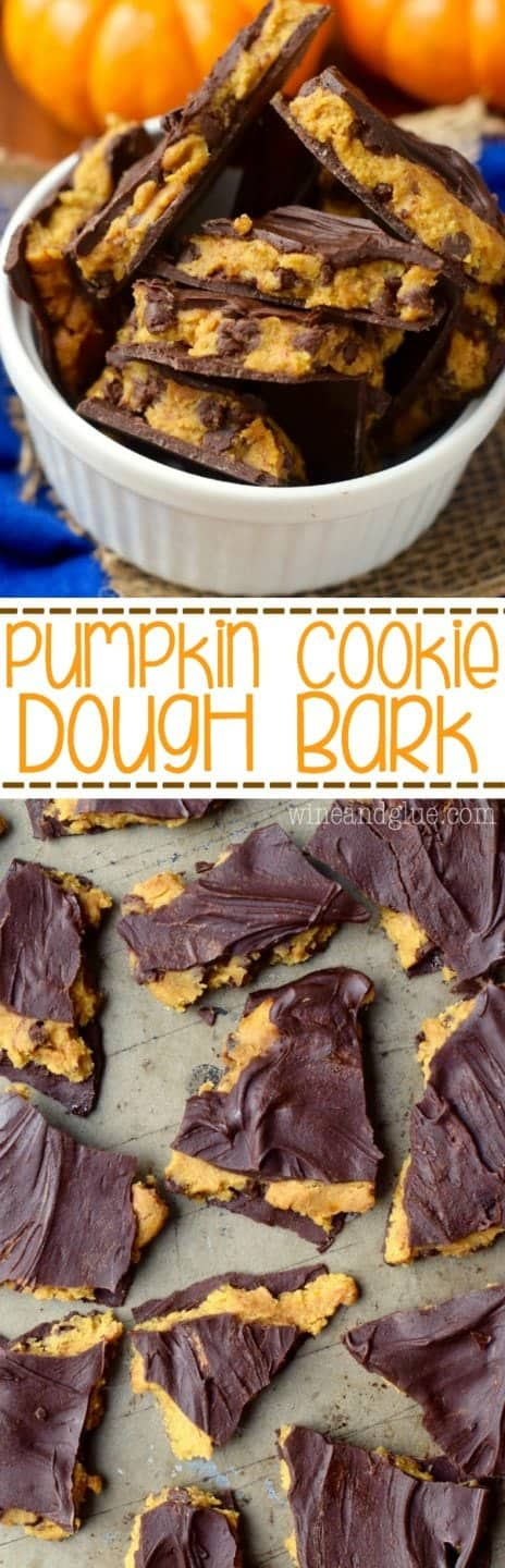 This Pumpkin Cookie Dough Bark is the love child of pumpkin desserts and your love of cookie dough!! Winning!