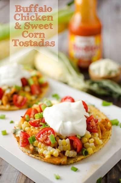 Buffalo Chicken & Sweet Corn Tostadas