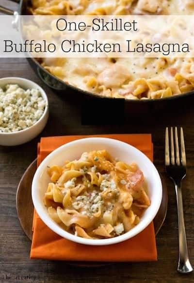 One Skillet Buffalo Chicken Lasagna