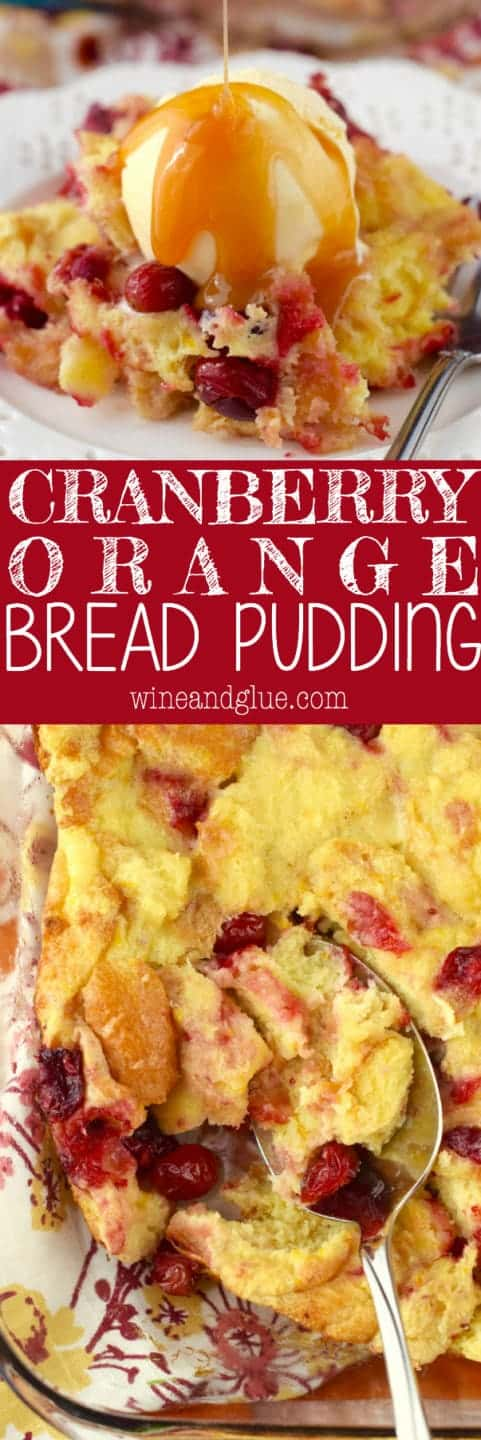 This Cranberry Orange Bread Pudding is knock your socks off amazing! The kind of dessert that you secretly eat right from the pan when no one else is looking!