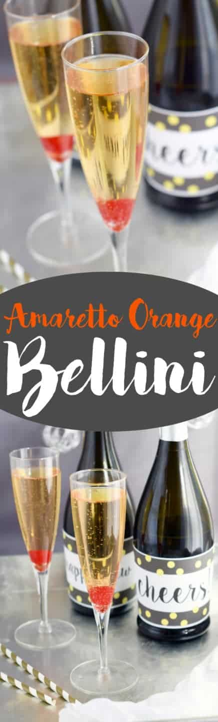 This Amaretto Orange Bellini is a super fast cocktail that is going to be your new favorite way to drink champagne!