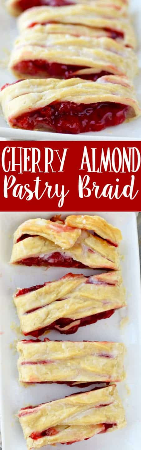 This Cherry Almond Braid is easy and SO delicious! The perfect pastry! Complete with a video tutorial.