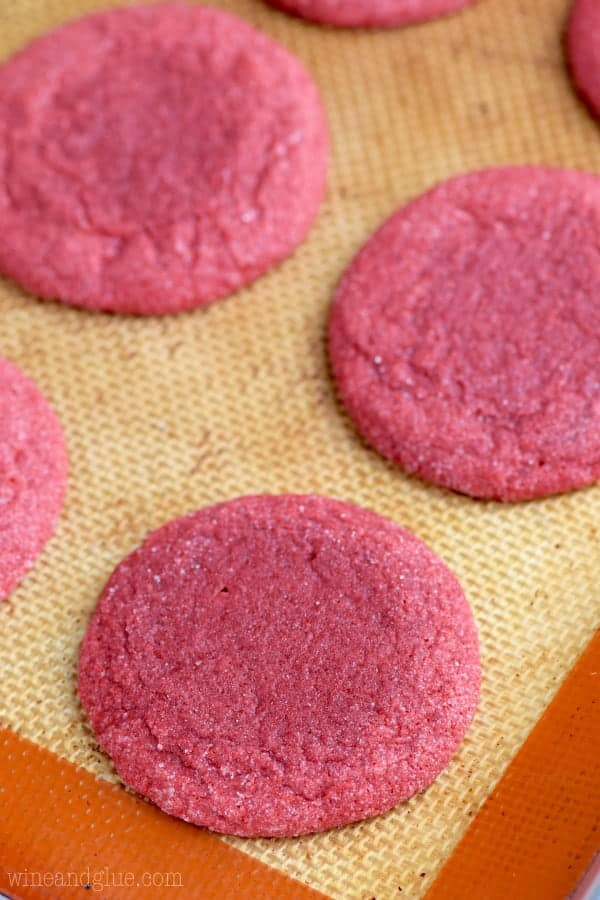 Red cookies with no icing.