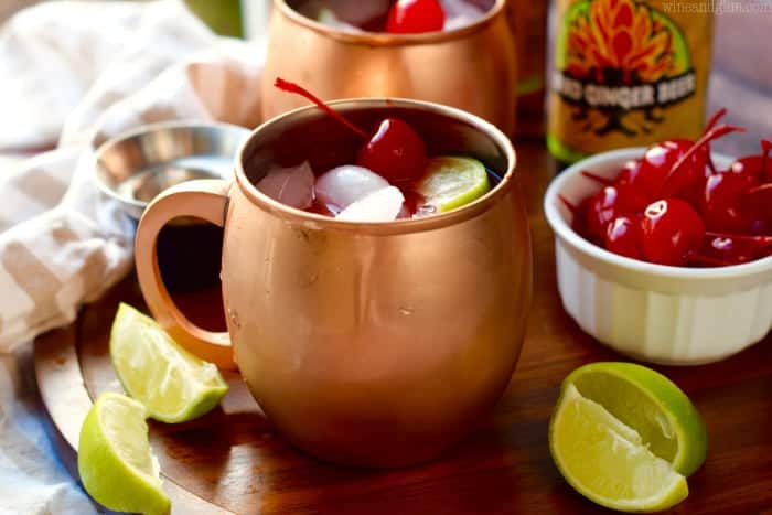 These Cherry Moscow Mules are a delicious twist on an amazing cocktail! Make a pitcher for your next get together!