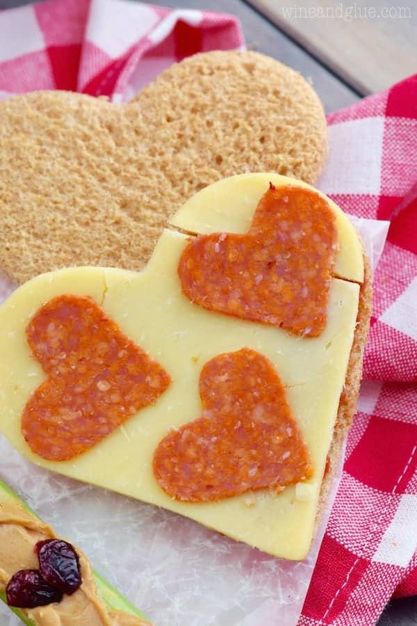 A heart shaped pizza sandwich!