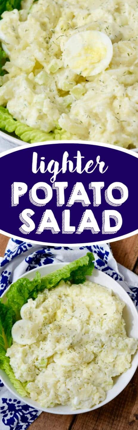 This Lighter Potato Salad cuts down on the calories but still tastes amazingly perfect! A great summer side dish!