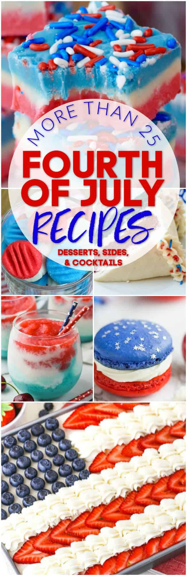 collage of photos of red white and blue recipe for the fourth of july