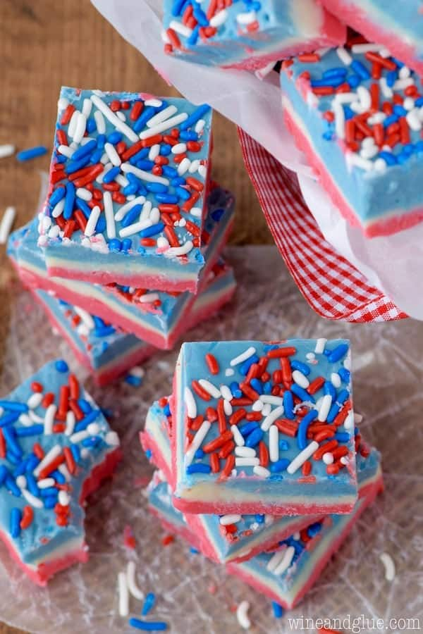 This Red White and Blue Fudge is super simple to make in the microwave, but it is a showstopper!