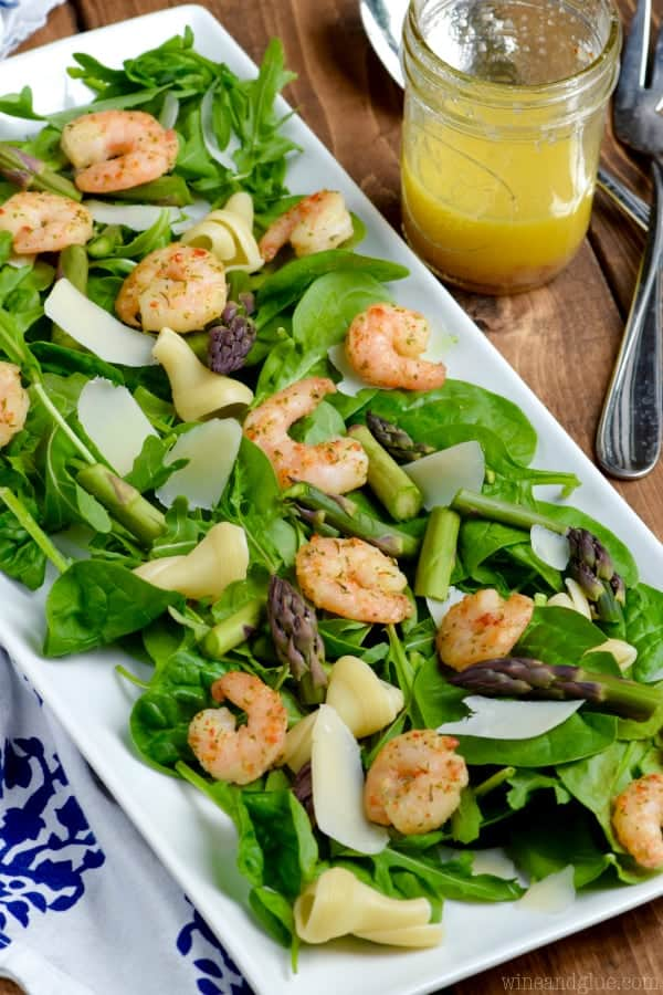 This Shrimp Scampi Salad is such a light and fresh dinner packed with amazing flavor! And it comes together FAST!