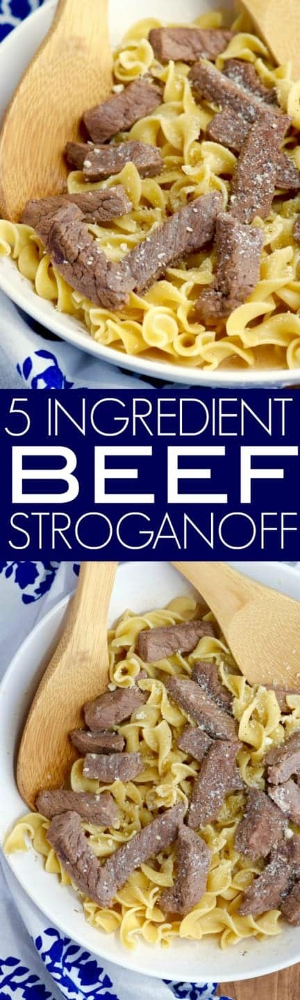 This Five Ingredient Beef Stroganoff comes together SO FAST, but it is seriously amazing comfort food that will want to make again and again.