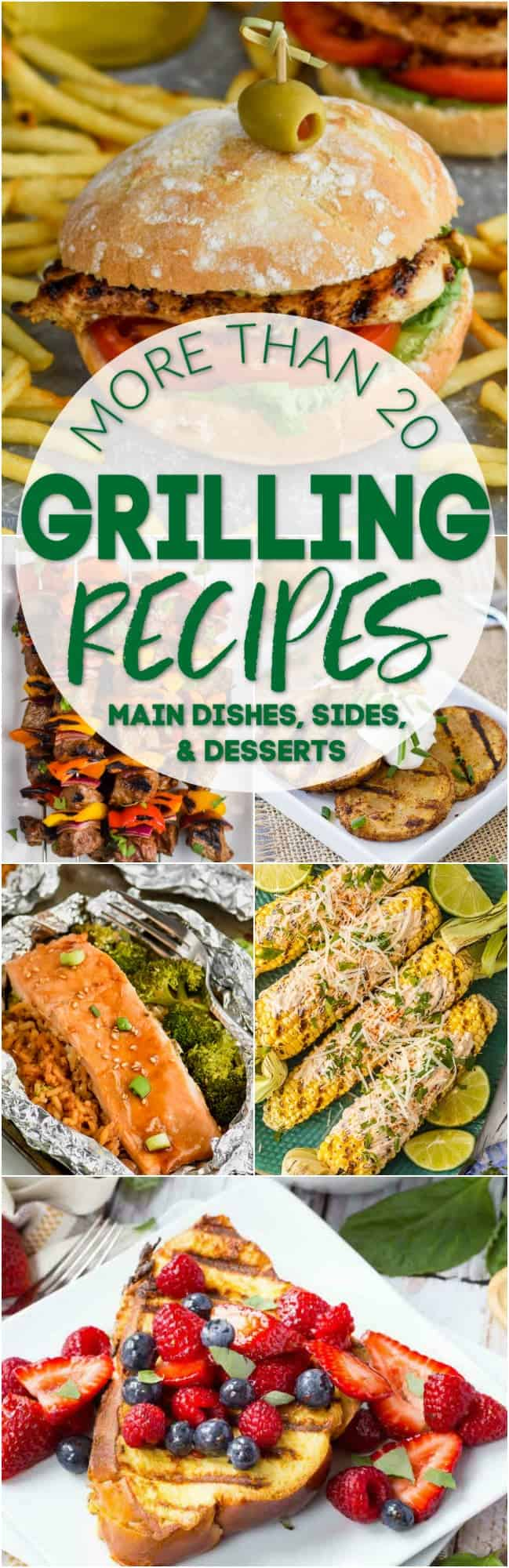 collage of photos of grilling recipes