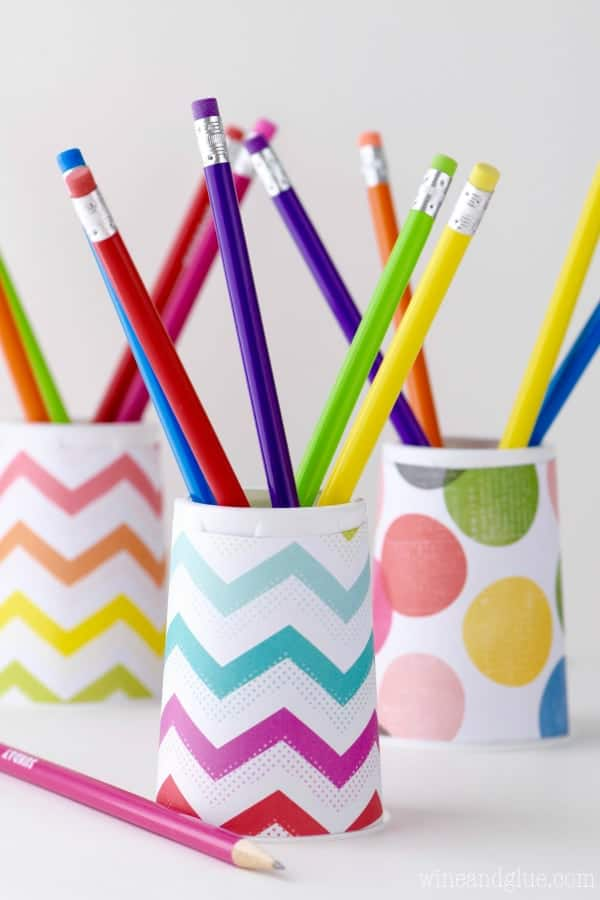 This DIY Pencil Holder is so easy the kids can make it themselves! Be sure to grab the free template to make it even easier!