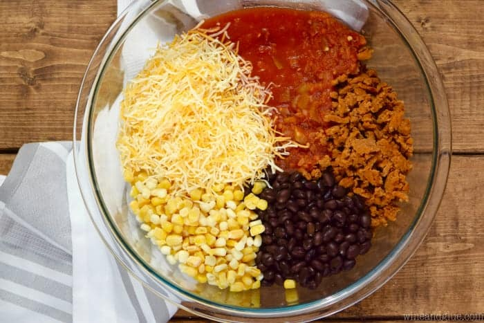 overhead photo of a bowl of ingredients for taco stuffed peppers