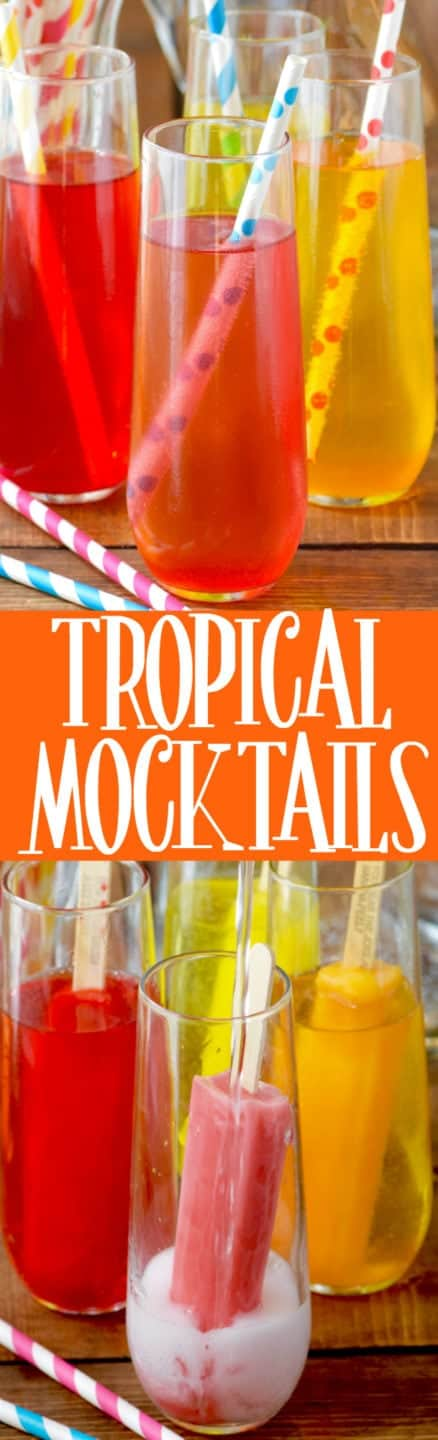 These Tropical Mocktails are only TWO INGREDIENTS and are such a fun treat for the kiddos!