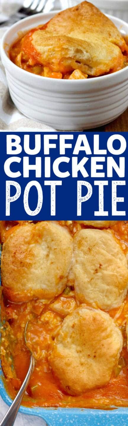 This Buffalo Chicken Pot Pie is an easy dinner recipe that your family will gobble up! Total comfort food!