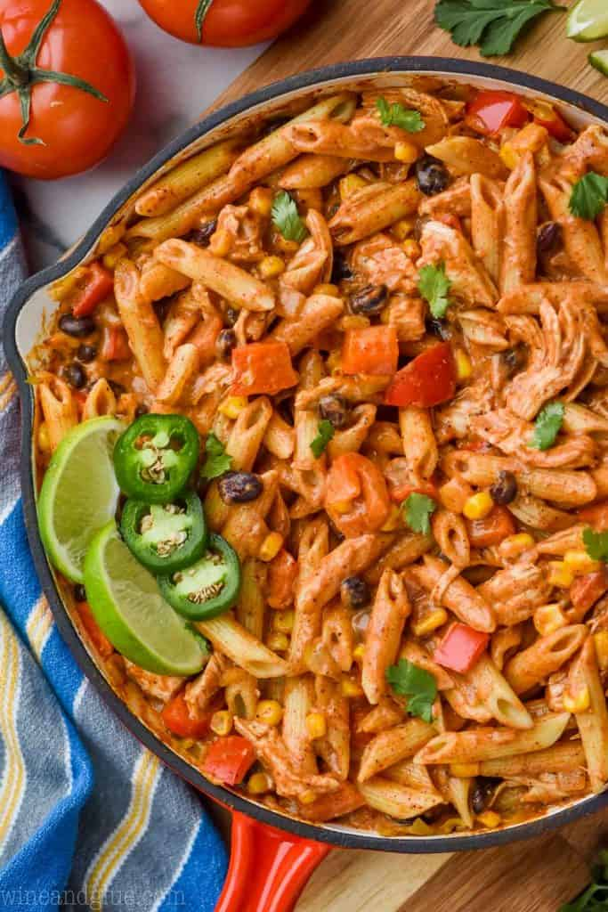 overhead view of southwestern one pot pasta alfredo recipe