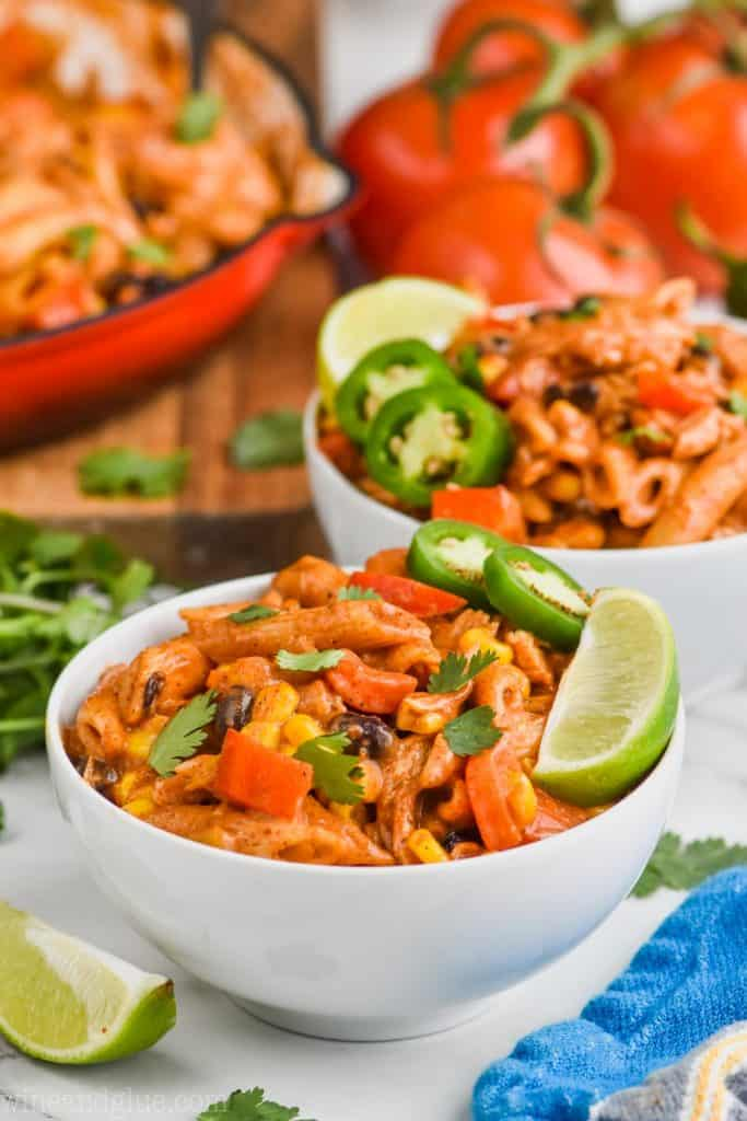 white bowl full of southwestern one pot pasta recipe