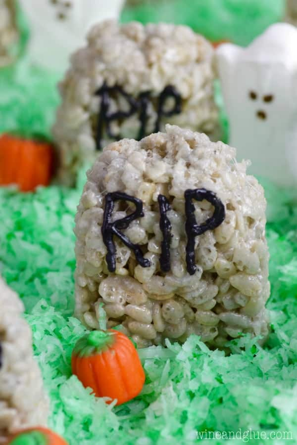 This Rice Krispies® Treat Graveyard is so easy to throw together and makes such a fun and tasty Halloween Treat!