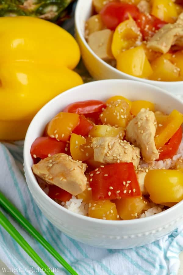 This Slow Cooker Sweet and Sour Chicken is a lighter version of the take out, and so easy to make at home!