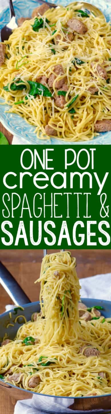 This One Pot Creamy Spaghetti and Sausage is a fast easy dinner that is totally delicious!