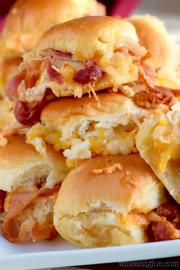 These Sriracha Bacon Sliders are EASY to make and such a fun appetizer or way to feed a crowd!