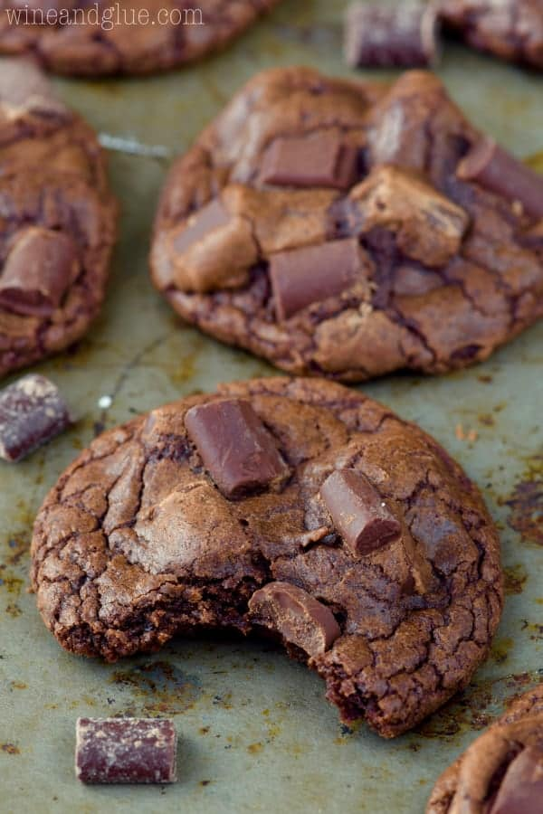 These Triple Chocolate Chunk Cookies are a cookie lover's dream! Just slightly crisp on the outside and fudgey on the inside with that amazing chocolate flavor!