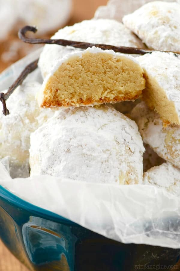Vanilla Bean Snowball Cookies covered in powdered sugar.
