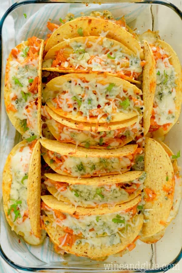 These Buffalo Baked Tacos are easy to pull together, but so delicious! Perfect for dinner or for a game day crowd!