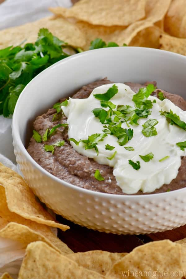 black bean dip recipe in a bowl with chips around