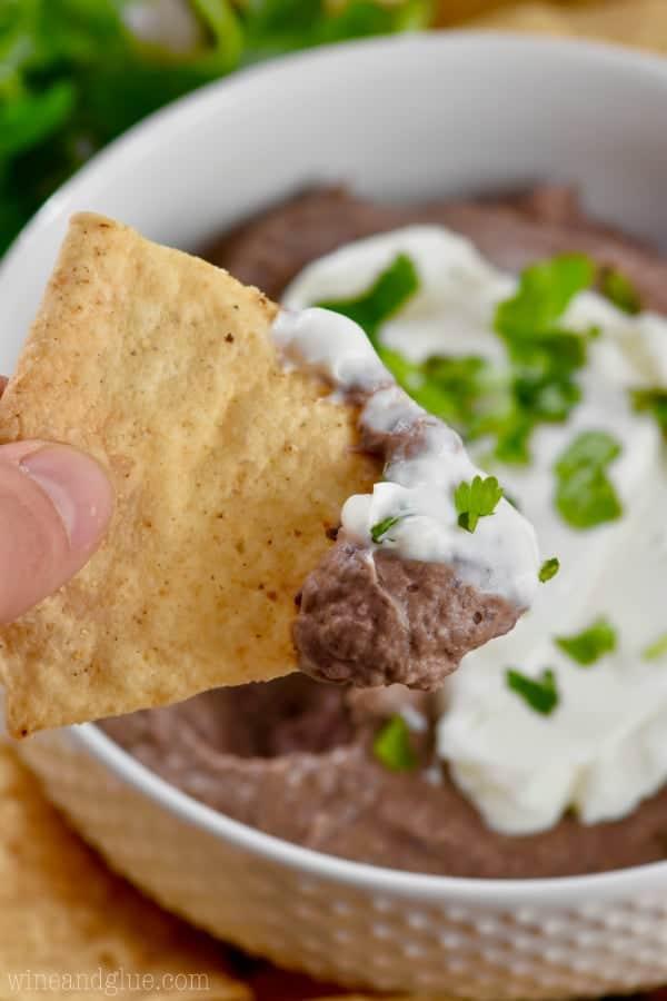 black bean dip recipe on a chip