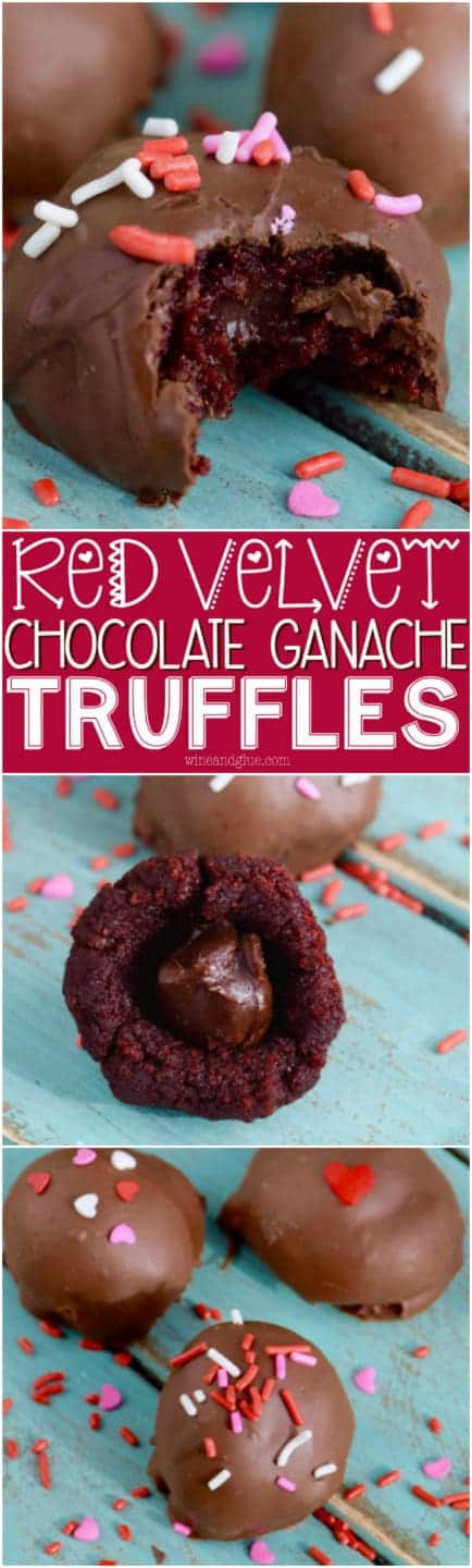 The Red Velvet Chocolate Ganache Truffles has a hard chocolate exterior topped with sprinkles and a soft cake interior with a little ganache in the middle.
