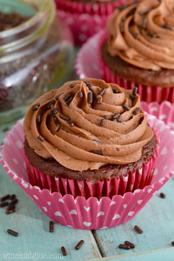 This is the BEST Chocolate Buttercream Frosting and it is so easy to throw together!
