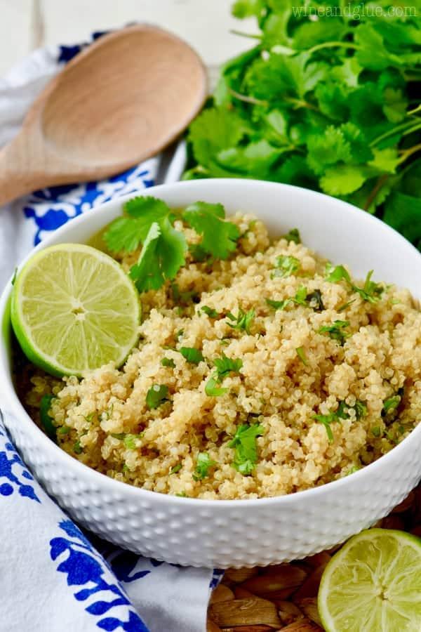 white bowl full of cilantro lime quinoa
