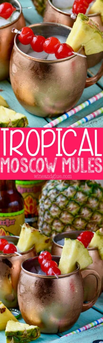 These Tropical Moscow Mules are absolutely delicious and super easy to make! Like if Moscow Mules and Pina Coladas had a baby!