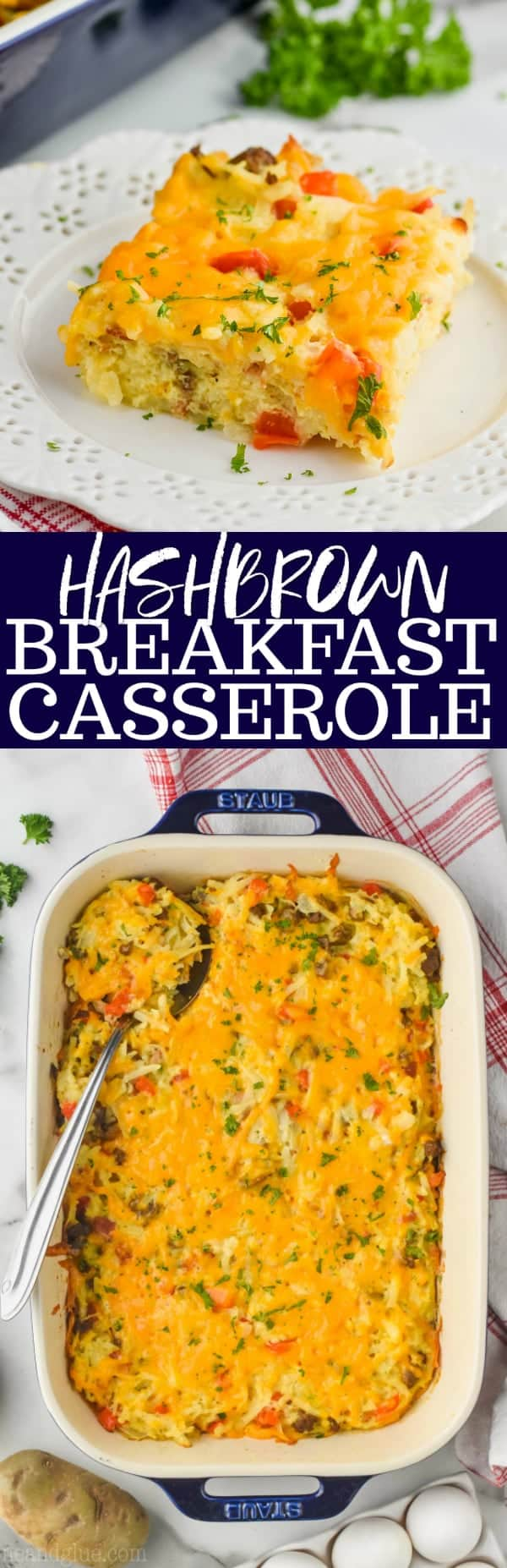 collage of hash brown egg casserole