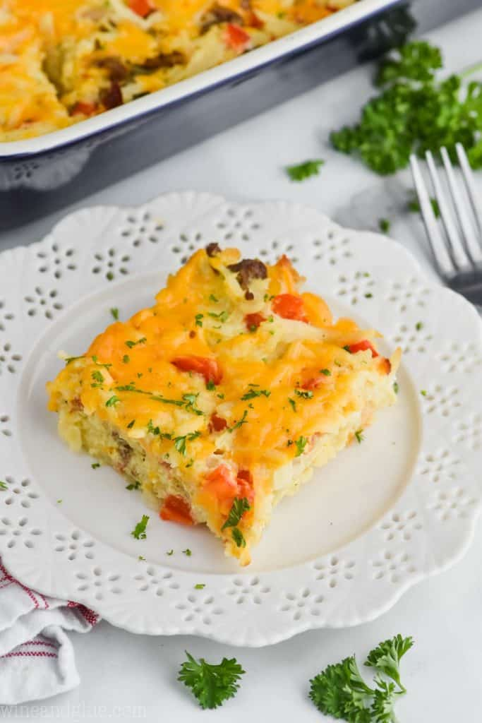 square of hash brown bacon breakfast casserole on a plate